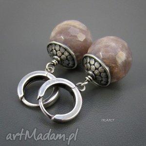 Kamień słoneczny - kolczyki, srebro, oksydowane,
