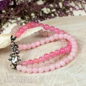 srebrna bransoletka w pastelowym różu a618, pastelowa bransoletk