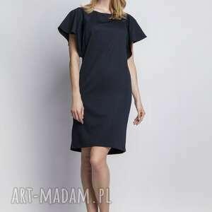 sukienka z oryginalnymi rękawami, suk104 granat, falbany, sukienka, prosta, elegancka