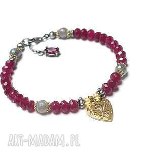 Ruby heart -bransoletka , srebro, oksydowane, pozłacane, jadeity, labradoryty