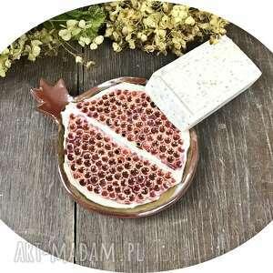 mydelniczka granat,mydelniczka ceramiczna ręcznie robiona, owoc