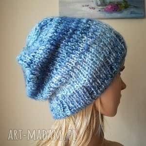 ręczne wykonanie czapki lihgt blue czapka z jedwabiem