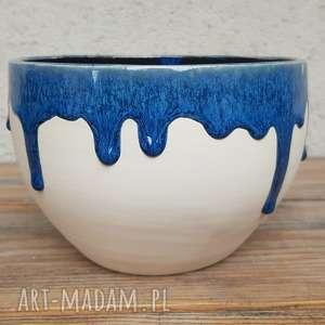 misa ze ściekającym szkliwem, misa, wazon, ceramika, glina, rękodzieło