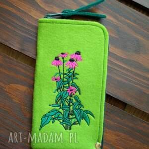 handmade etui filcowe na telefon - jeżówka