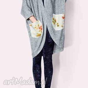 ciepły sweter/płaszcz z wełny, sweter, oversize, kwiaty