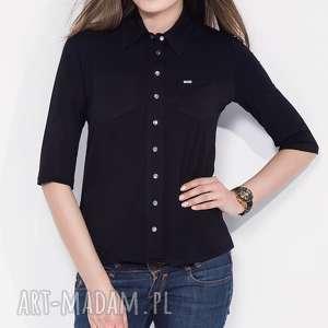 czarna koszula damska z koŁnierzykiem s, xl - casual, do-procy, koszula