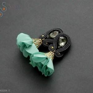 klipsy sutasz z kwiatkiem, sznurek, eleganckie, wiszące, wieczorowe, turkusowe