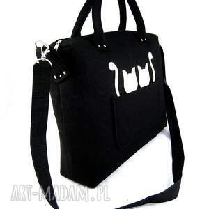 Black chest & two ecru cats/strap - ,filc,torebka,kotki,