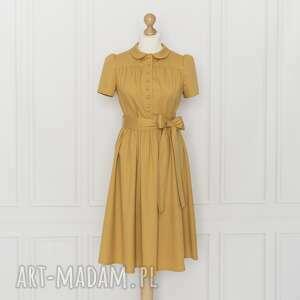 sukienki gabriel sukienka z kołnierzykiem bebe, musztardowa