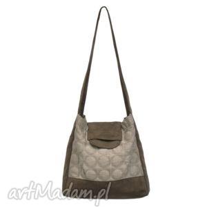 279f1352152ad na ramię handmade 26-0005 Jasnobrązowa torebka worek na zakupy HUMMING-BIRD
