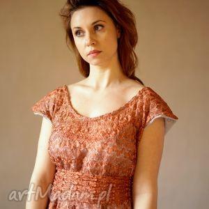 sukienki ruda koronka, sukienka, wieczorowa, elegancka, koronkowa