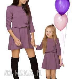 komplet dla mamy i córki - sukienka taliowana, fiolet, sukienka, bawełna