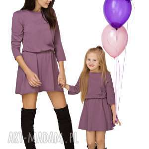 handmade sukienki komplet dla mamy i córki - sukienka taliowana, fiolet