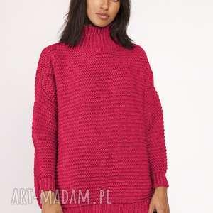 ręcznie wykonane swetry sweterek - golf, swe116 malinowy