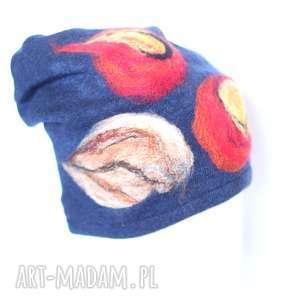 czapka handmade wełniana z kwiatem, wełna, etno, merynosy, czapka, filc, folk