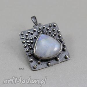 kamień księżycowy i srebro - wisior, kamień, księżycowy, srebro, oksyda, wisior