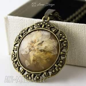 medalion z prawdziwym kwiatem - antyczny brąz, medalion, wisiorek, łańcuszek, vintage