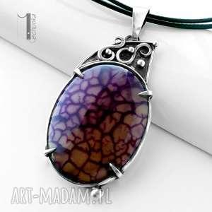 flare srebrny naszyjnik z agatem smoczym - metaloplastyka, perły