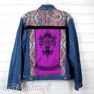 ręcznie wykonane kurtki dżinsowa kurtka denim festiwalowa w stylu boho