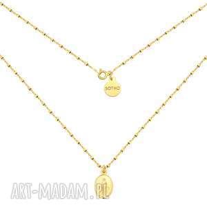 Złoty naszyjnik z medalikiem, naszyjnik, łańcuszek, medalik, żółte, złoto,
