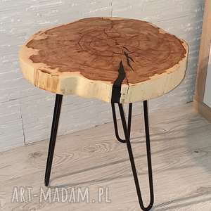stolik drewniany z żywicy epoksydowej - plaster klonu, stolik, drewno, żywica