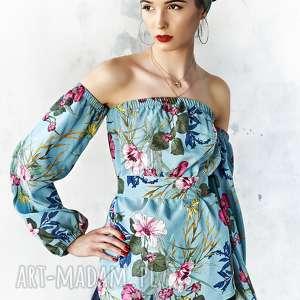 bluzka w kwiaty z odsłoniętymi ramionami, bluzka, elegancka, wiskoza, wygodna
