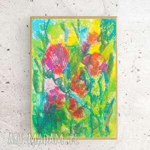annasko oprawiony rysunek z kwiatami, łąka obrazek w ramce, szkic łąki, kolorowy