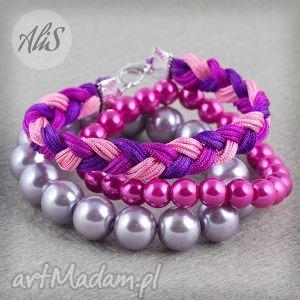 Błysk fioletu - ,fioletowa,różowa,fuksja,perełki,gumka,