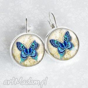 kolczyki z motylami w szkle, motylki, niebieskie, błękit, owady, unikatowa