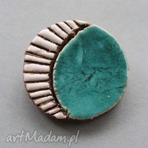 turkusek-broszka ceramiczna - prezent, ona, delikatne, subtelna, kobieca, wyjątkowa