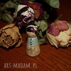 tulikowa - ręcznie wypalana drewniana laleczka, pluszak, balonik, retro, laleczka