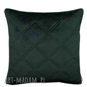 ręcznie zrobione poduszki poduszka welur karo butelkowa zieleń 45x45cm
