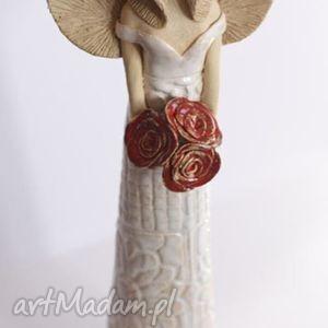 handmade ceramika anioł różany