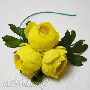 pomysł na prezenty świąteczne ŻÓŁTE KWIATY, kwiaty, fascynator,
