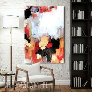 złoto i alabaster - abstrakcyjne obrazy do modnego salonu, złota dekoracja