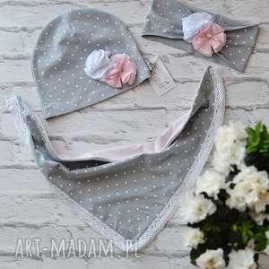 cienki komplet dla dziewczynki czapka komin opaska - wiosenna, chusta