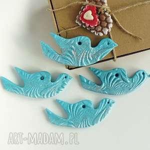 zawieszki choinkowe turkusowe ptaszki dekoracja świąteczna, turkusowy, ptak