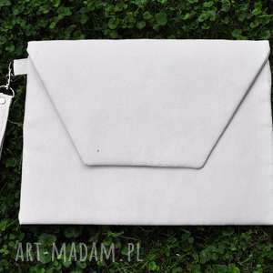 kopertówka xl - ecru, kopertówka, alcantra, prezent na święta