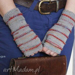 hand made rękawiczki mitenki z szare