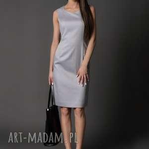 klasyczna sukienka etui /szara - monique, srebrzysta, szara sukienka, ołówkowa