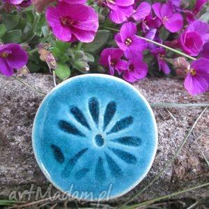 wytworna, ceramiczna, turkusowa, kwiatek