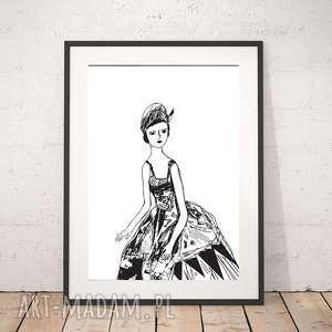 plakaty biało-czarny plakat z dziewczyną, grafika paryżanką, biało-czarna
