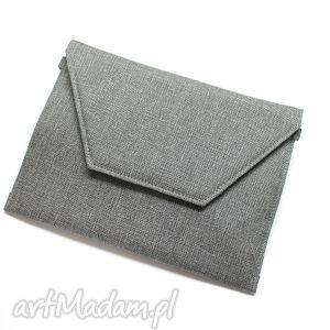 Prezent Kopertówka - tkanina szara, elegancka, nowoczesna, wizytowa, wieczorowa,