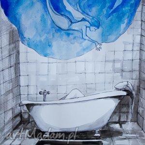 Akwarela Kąpiel artystki plastyka Adriany Laube, akwarela, łazienka, wanna, syrenka