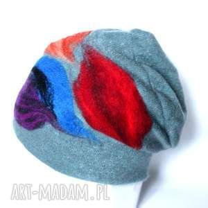 Prezent czapka handmade wełniana z kwiatem, wełna, ciepła, etno, czapka, narty