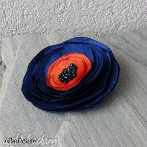 granaty i pomararańcze - broszka, kwiat, satyna, moda, styl