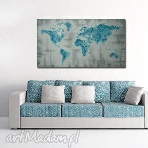 ręcznie malowana mapa świata 3d - 14 obraz 96x54cm turkusowa szara, mapa, szara
