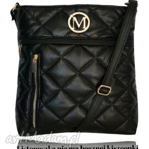 ręcznie wykonane torebki duża listonoszka damska pikowana zamek - czarna