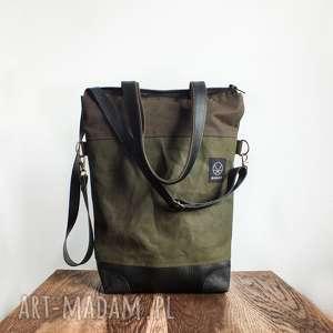 Torba Double Khaki Canvas, torba-zielona, torba-solidna, wytrzymała, torba-na-zamek