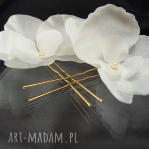 Jedwabne orchidee , swarovski, ozdoba, jedwab, ślub, kwiat, perła